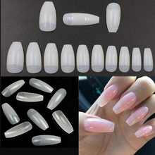 500PCS/Bag Ballerina 0-9Size Half Nail Tips Natural Coffin False Nails ABS Artificial DIY Fake UV Gel Art Nature