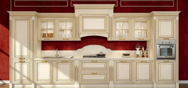Luxury White Kitchen Cabinets Solid Wood With Gold Painting Roman Column  And Top Molding