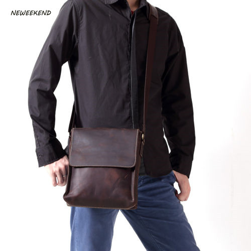 NEWEEKEND 8069 Genuine Leather Men's Bags Small Shoulder Messenger Crossbody Bags Casual Small Flap iPad Bag Case for Man neweekend genuine leather bag men bags shoulder crossbody bags messenger small flap casual handbags male leather bag new 5867