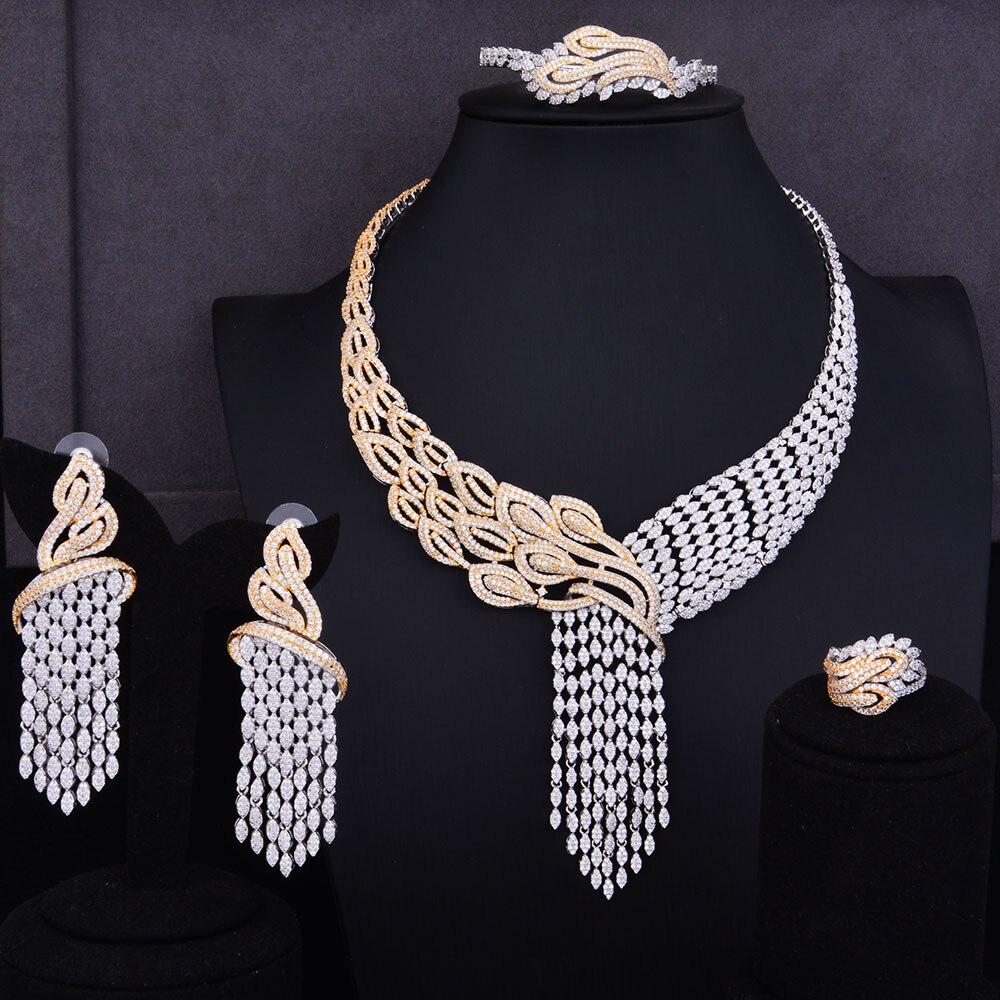 Image 5 - GODKI Luxury Tassels Drop Mixed Women Wedding Cubic Zirconia Necklace Earring Saudi Arabia Jewelry Set Jewellery AddictionJewelry Sets   -
