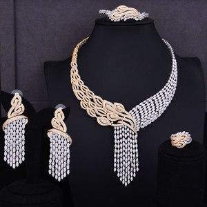 Image 5 - GODKI luksusowe frędzle spadek mieszane kobiety ślubne Cubic naszyjnik z cyrkonią kolczyki biżuteria z Arabii Saudyjskiej zestaw uzależnienie od biżuterii
