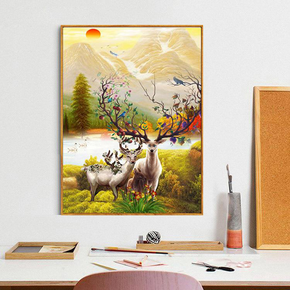 Canvas Print Painting 2 Deer Mountain Lake Landscape Animal Poster ...