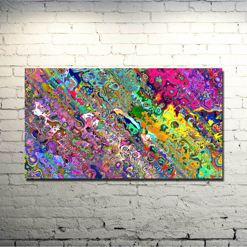Psychedelic Trippy Abstract Art Silk Fabric Poster Cetak 13x24 20x36inch Picture For Living Decor Room 011