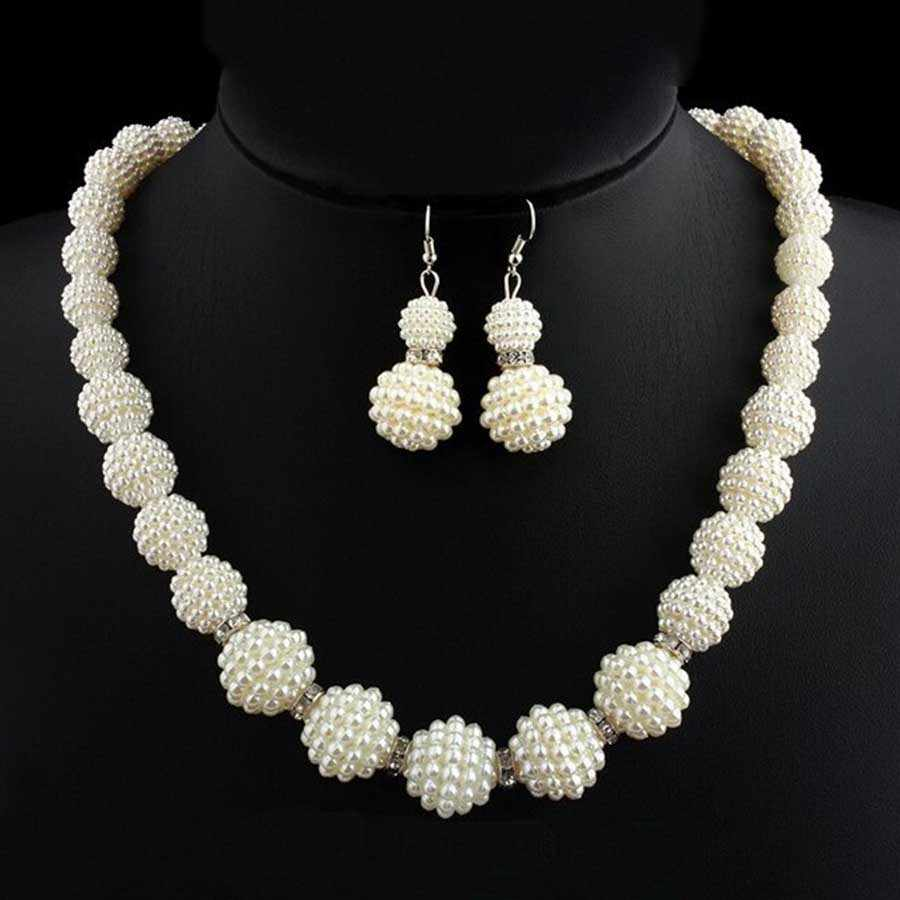 turkish Wedding Indian Jewelry Sets Big Simulated Pearl Necklace Sets Fashion Women Statement African Beads Jewelry Set for gift