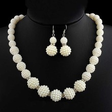 turkish Wedding Indian Jewelry Sets Big Simulated Pearl Neck