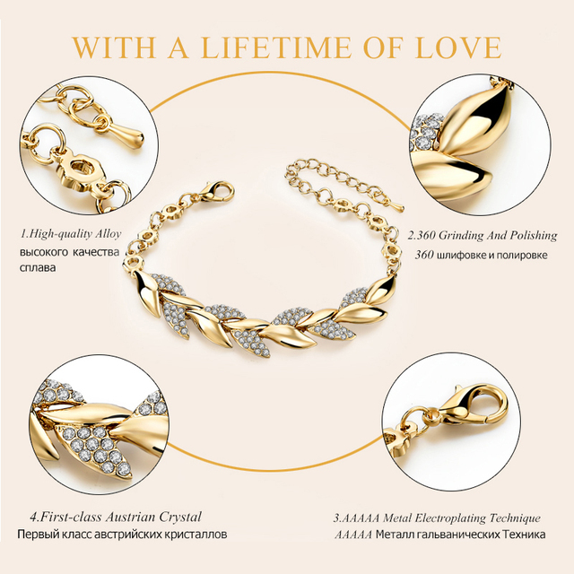TOUCHEART Braided Gold color Leaf Bracelets & Bangles With Stones Luxury Crystal Bracelets For Women Wedding Jewelry Sbr140296 3