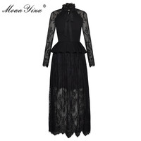 MoaaYina Black Lace Long Sleeve Tie Bow Collar Peplum Ruffles Full Length Elegant Dress Sexy Mesh