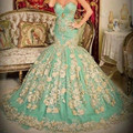 Evening Dresses 2016 Mermaid Golden Appliques Sweetheart Arabic Luxury Women Gowns Sweep Train
