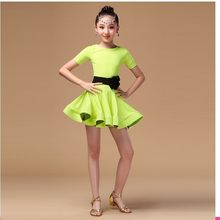Children girl kids Latin Dance Dresses Ice Silk Vestido Baile Latino Latin Girl Dance Dress Costume For Dance Cha Cha Costumes(China)