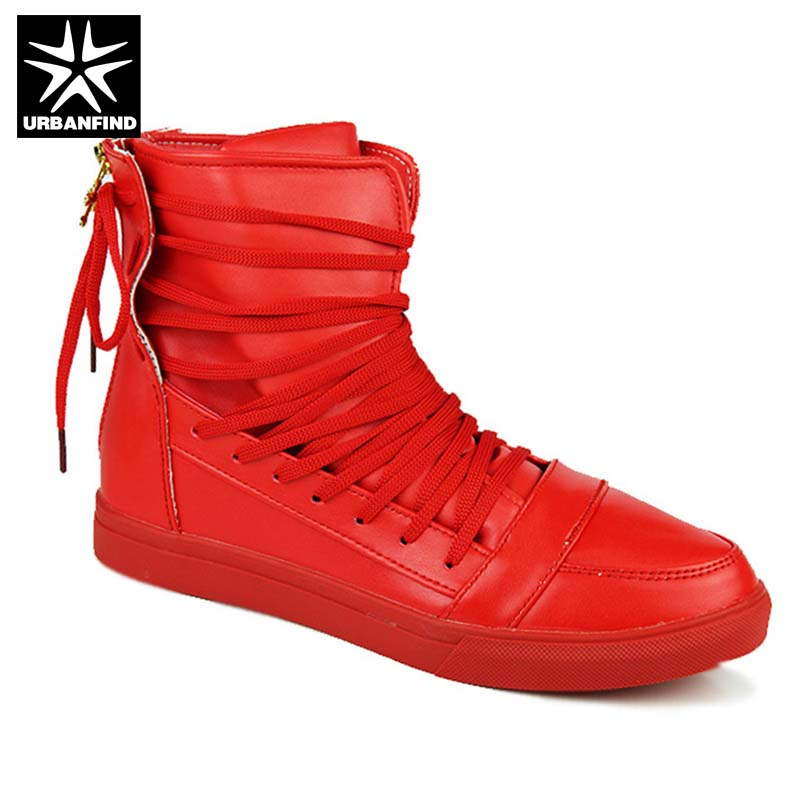 New Fashion Man PU Leather Boots Size 39-44 Lace Design Ankle High Shoes Man Designer Footwear