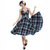 Vintage 1950s Black Plaid Dresses Women Party Dress Knee Length O Neck Dresses Elegant 2017 Sexy