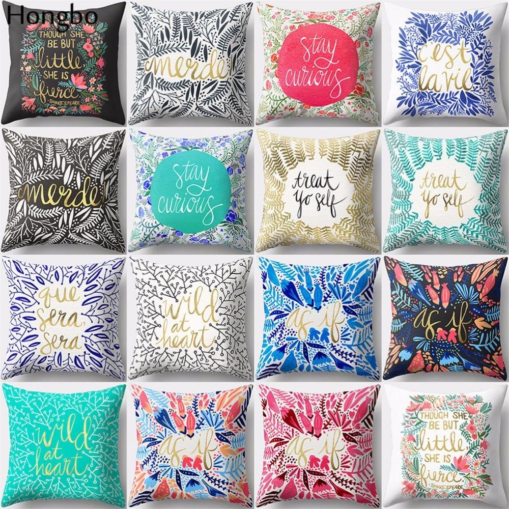 Hongbo 1 Pcs Flower Letters Manda Datura  Throw Pillow Case Decorative Cushion Cover For Home Sofa Car