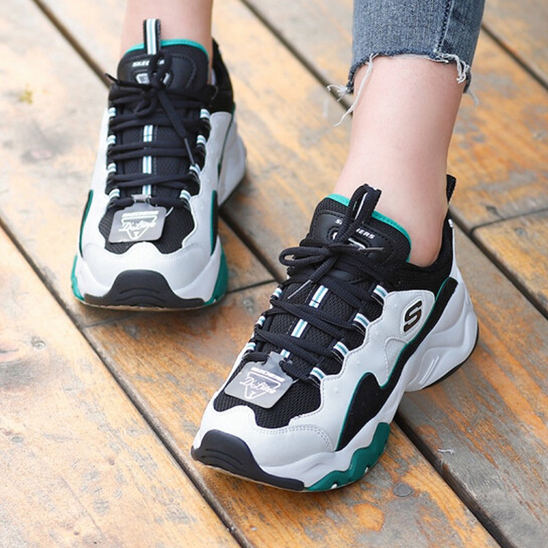 Skechers D'lites New Arrival Causal Shoes women Platform High Heels woman Shoes White and Green Sneaker Shoes 12955 WGRN