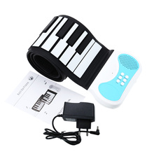 Flexible 49 keys Roll-up Piano Portable Silicon Soft Keyboard Piano Educational Instrument for Kids with US / UK / EU Plug