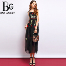 Baogarret Fashion Runway Summer Spaghetti Strap Dress Womens Sexy Backless Flower Embroidery Mesh Overlay Vintage Dresses