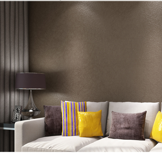HaokHome Solid Color Non Woven Wallpaper Light Brown Modern Silk Wallcovering Simple Wall Paper For Livingroom