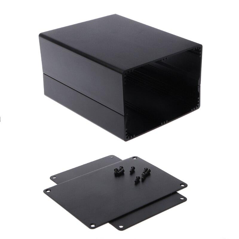 1PC Aluminum Enclosure DIY Project Case Power Junction Box 155x120x83mm Black D23 Dropship 1 pc white small plastic network enclosure diy pcb aluminum project box case140 100 30 mm 5 5 3 9 1 2 inch
