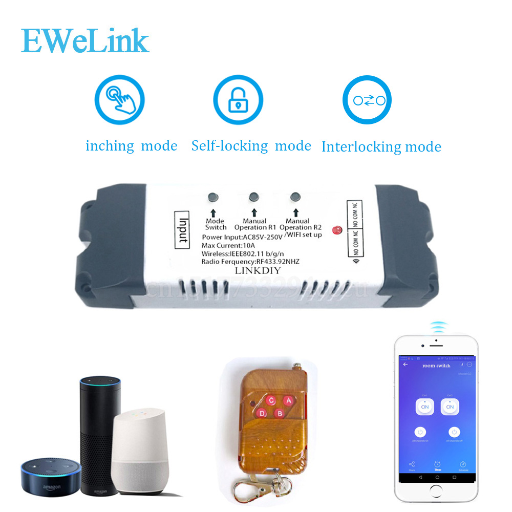 Wifi switch wireless Relay module Smart home Automation for Computer access DC7V/12v 24v 32v Inching/Self-Locking IOS Android