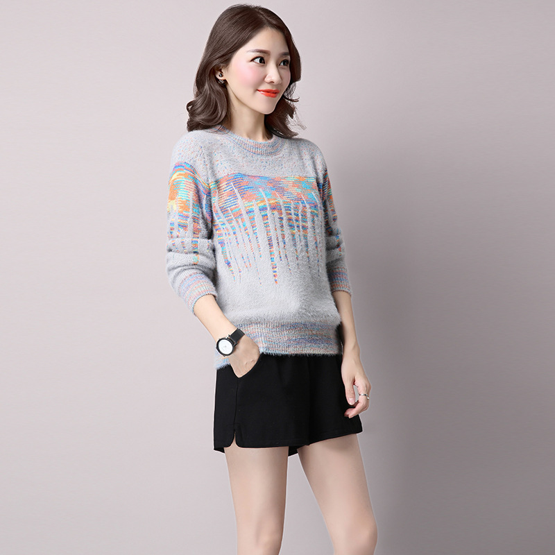 Autumn Winter Sweaters 2016 Short O-neck Geometric Design Sweater Womens Knitwear Patchwork Color Block Pullovers Female E014