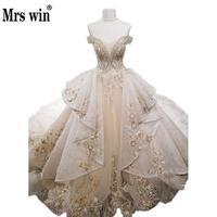 Champagne Gold Luxury Wedding Dress High End Deep v Sexy Backless 2M Royal Train Bridal Marriage Gown Vestido De Casamento LongC