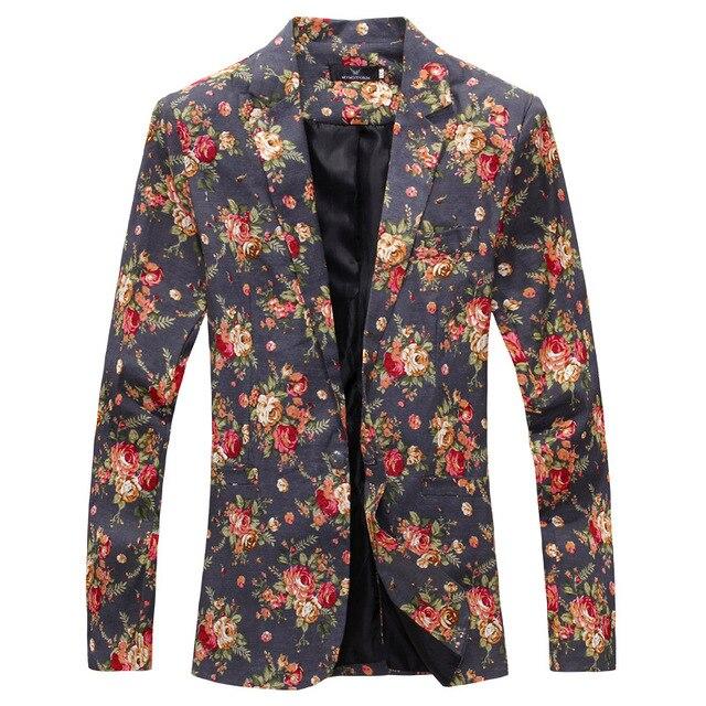 2016 Новый Slim Fit трехмерного разреза мужские костюмы мужские костюмы железа цветок цветочные куртка мужская марка Одежды повседневная пальто