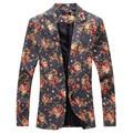 2016 Nova Slim Fit ternos dos homens ternos dos homens de ferro de corte tridimensional flor floral jaqueta dos homens marca de Moda casaco casuais