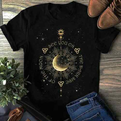 Hippie Moon See You On The Dark Side Of The Moon Men Black Cotton T Shirt S-6XL Cool Casual pride t shirt men Unisex Fashion