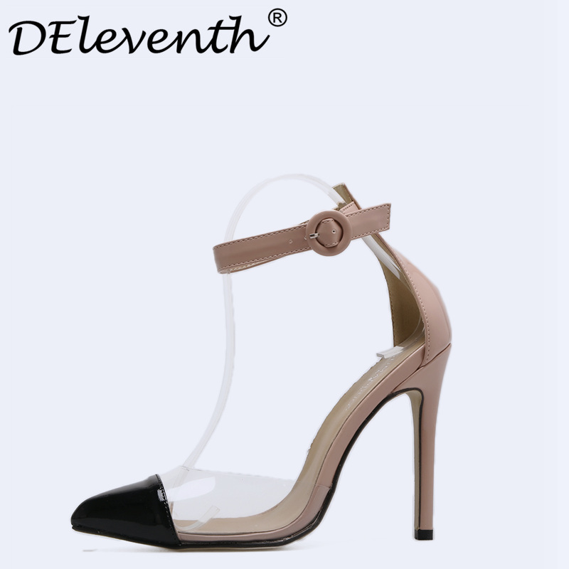 Vogue Women Mary Janes Hollow Ankle Strap Pointed Toe Stiletto High Heels Shoes OL Office Lady Party Shoes Pumps Court Shoes new fashion thick heels woman shoes pointed toe shallow mouth ankle strap thick heels pumps velvet mary janes shoes