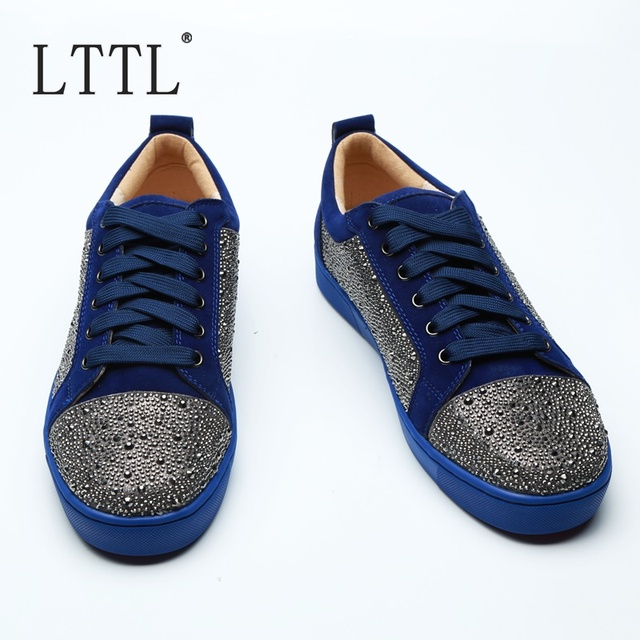 LTTL Suede Rhinestone Flat Low-cut Sneakers Crystal Lace-up Men Runway Chaussures Hommes Fashion Luxury Shoes Men Sneaker