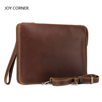 Leather File Documents Bag Holder Leather Multifunction Office Documents Bags A4 Paper File Pouch JOY CORNER