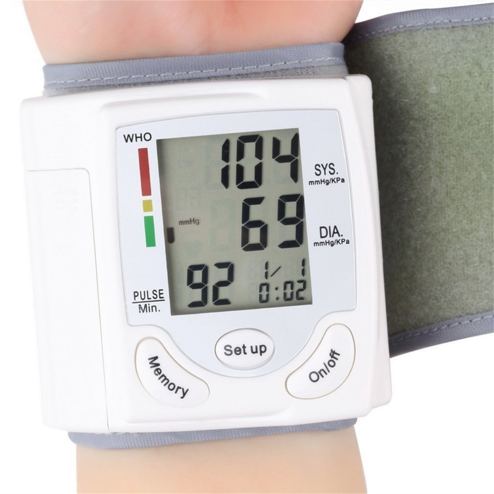 LCD Display Sphygmomanometers pulsometer Wrist Blood Pressure Monitor Heart Beat Rate As picture send free gift 3