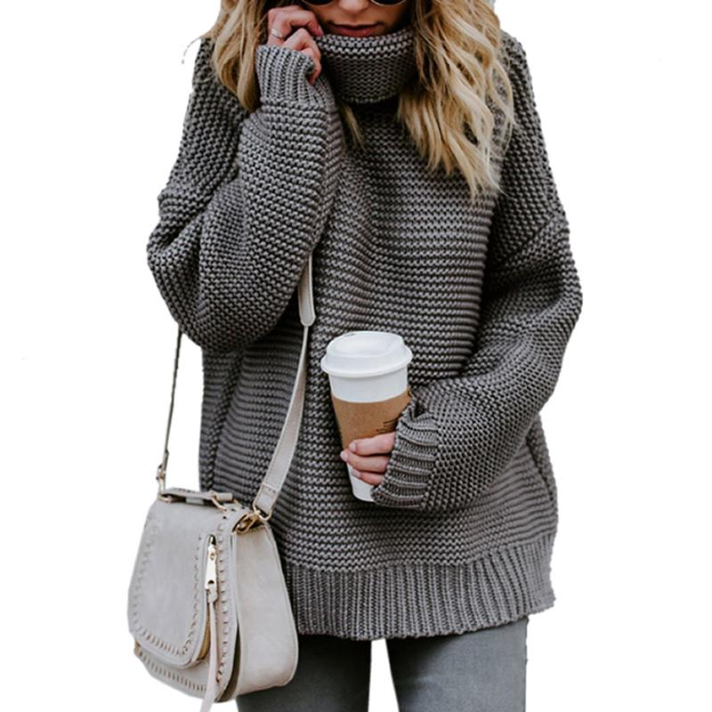 2018 Herbst Langarm Pullover Pullover Frauen Casual Looseturtleneck Strickwaren Warme Pullover Winter Kabel Strick Plus Größe Tops