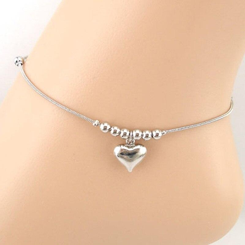 Женский браслет-цепочка с подвеской в форме сердца, пляжный браслет на ногу, ювелирные украшения # GY20