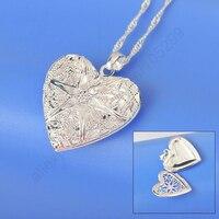 JEXXI Romantic Promotion Wholesale Love Heart Open Case Frame Pendant 925 Sterling Silver Necklace For Women