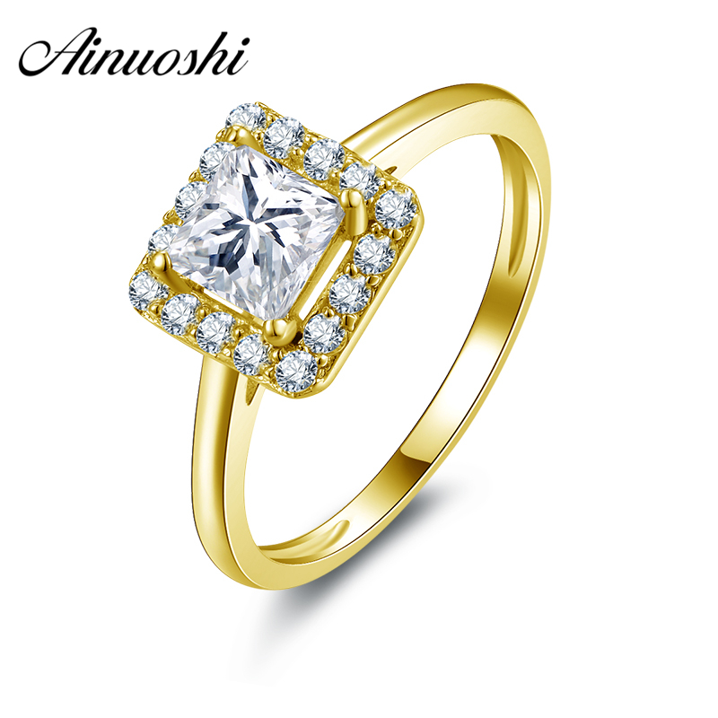 все цены на AINUOSHI 10k Solid Yellow Gold Women Engagement Rings Hot Sale 1 ct CZ Halo Wedding Anillos Jewelry for Bridal Rings Cuestomized онлайн