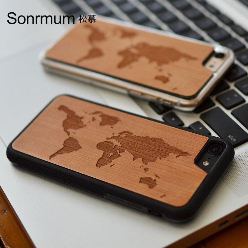 Цена за Карта мира новый бренд тонкие роскошные древесины бамбука чехол для телефона для iPhone 6 6 S 6 плюс 6 S плюс 7 7 плюс Чехол деревянный