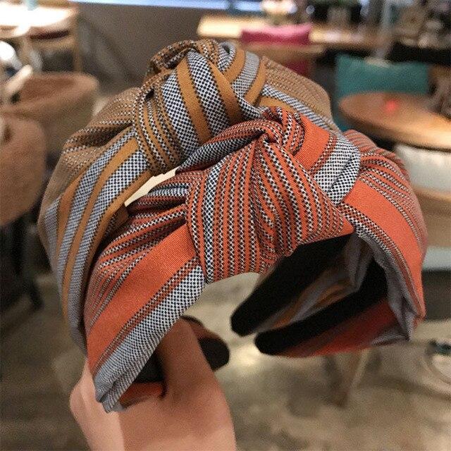 Haimeikang 2019 New Stripe Print Hairband Head Band Women Hair Hoop Cotton Cross Top Knot Hair Bands Accessories for Girls