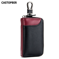 New Contrast Color Men Key Wallet Cowhide Genuine Leather Car Key Holder Housekeeper Card Holders Large