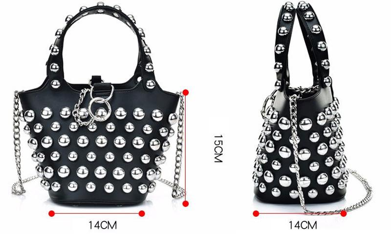 ec3c67ac355e 2017 Fashion Designer Punk Rivet Bucket Women Hand Bag Quality Female  Chains Single Shoulder Bag Versatile Ladies Composite Bag