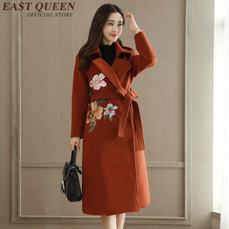 Women trenchcoat autumn winter fashion trench coat for women embroidered coats winter coat women 2017 KK1867 H
