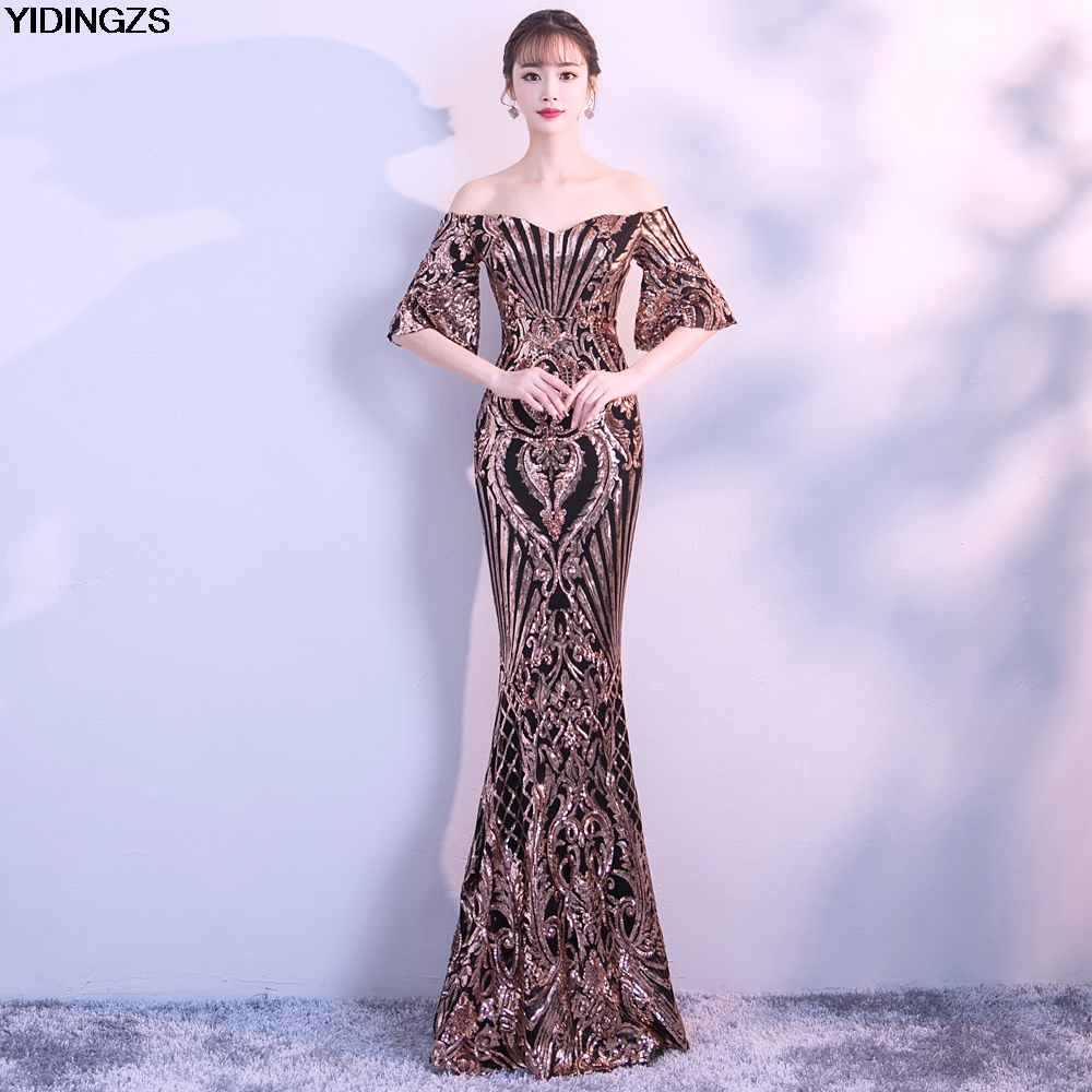 YIDINGZS New Arrive Flare Sleeve Sequins   Dress   Boat Neck Formal Party Long   Evening     Dress