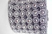 Silver 4.15 10 Yards Daisy Sunflower Diamond Mesh Bling Crystal Ribbon Wrap Trim Sparkle Rhinestone Wedding Cake Candle Decor