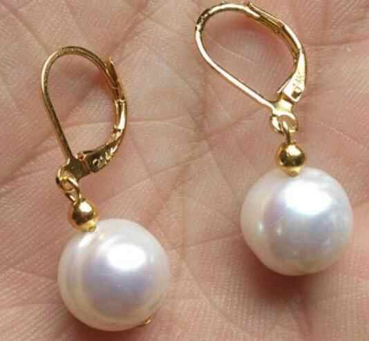 noble jewelry HUGE AAA 11-12MM SOUTH SEA WHITE PEARL DANGLE EARRING GOLD 14k/20