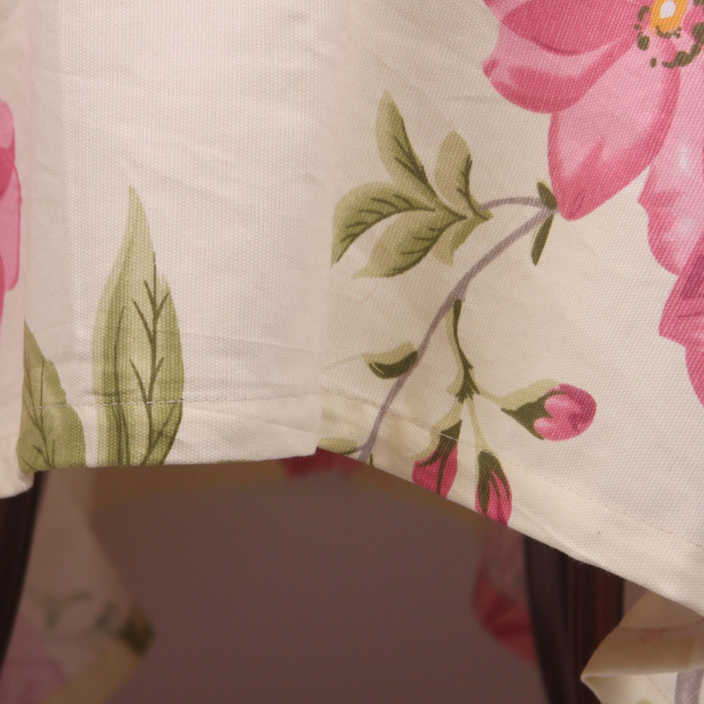 Curcya Cotton Tablecloths Pink Flowers Printed Table Cloth