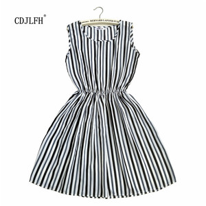 Fashion Women Summer Autum Striped Femme Dress 2018 Dresses Casual Plus Size Woman Clothes Beach White Sexy Mini Clothing(China)