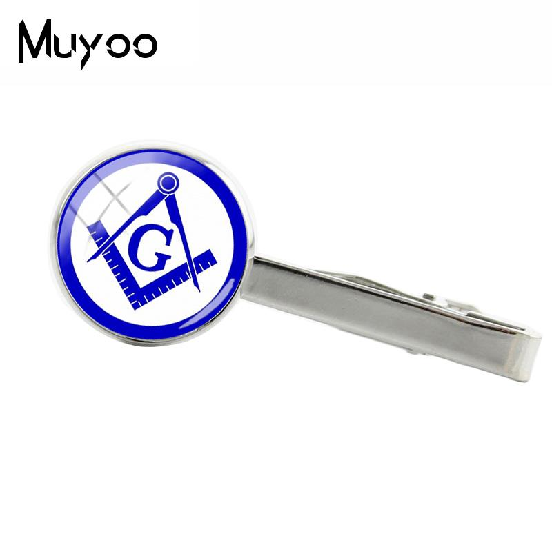 2018 New Masonic Tie Clip Freemasonry Square G Clip Silver Color Hand Craft Jewelry Glass Dome Clips High Quality