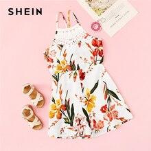 SHEIN Kiddie Girls Floral Lace Insert Tie Back Vacation Romper 2019 Summer Boho Sleeveless Criss Cross Kids Short Cute Jumpsuits цена 2017