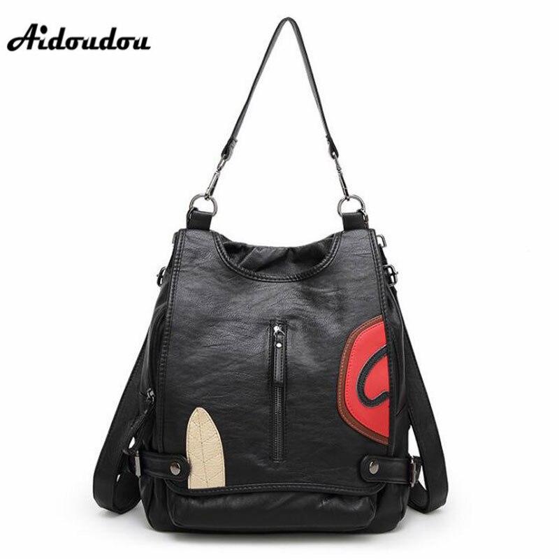AIDOUDOU Multifunctional Backpack Genuine Leather Women School Backpacks Big Capacity Female Mochila Escolar Shoulder Bags