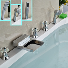 Deck Mount 5pcs Three Handles Waterfall Bathtub Tub Mixer Faucet Set Deck Mount Chrome Tub Filler