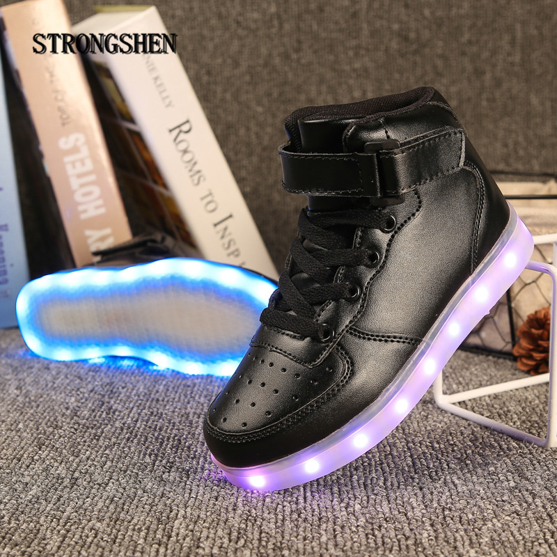 STRONGSHEN New USB Charging Kids Sneakers Fashion Luminous Lighted Colorful LED lights Children Shoes Casual Flat Boy girl Shoes boss boss bo246emgvr57